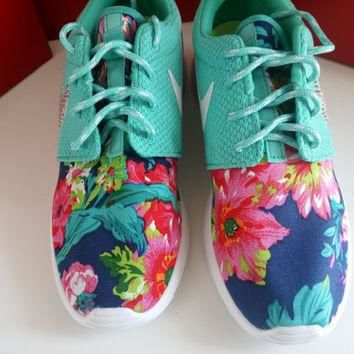 custom nike roshe run sneakers womens aqua color athletic shoes with fabric floral and