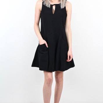 Keyhole + Pockets Tank Dress {Black}