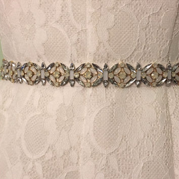 Ivory and Opal Geometric Floral Crystal Handmade Embellished Grosgrain Ribbon Bridal Sash Belt