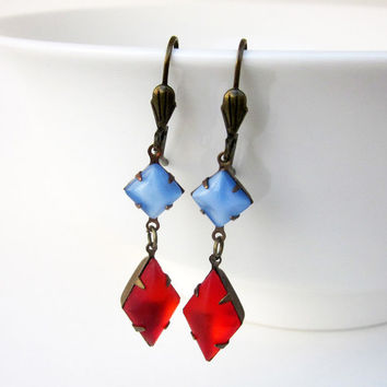 Unique Fire Orange & Blue Moonstone, Vintage Swarovski Earrings, Blue Stone, Earrings, Earring, Vintage, Mothers Day, Gift for Her, Wife