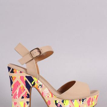 Bamboo Watercolor Print Ankle Strap Chunky Platform Heel