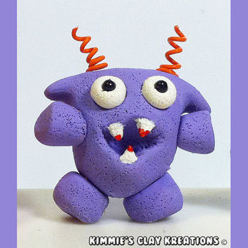 Polymer Clay Monster Figurine - Miniature Whimsical Character Sculpture - Kooky Monsters - The CUTE side of SCARY