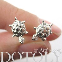 Small Turtle Tortoise Sea Animal Stud Earrings in Silver