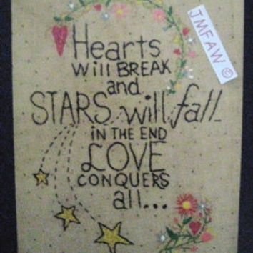 "Primitive Folk Art Print- ""Love Conquers All""---Copyright Lithograph Print of Original Handcrafted Primitive Folk Art Stitchery"