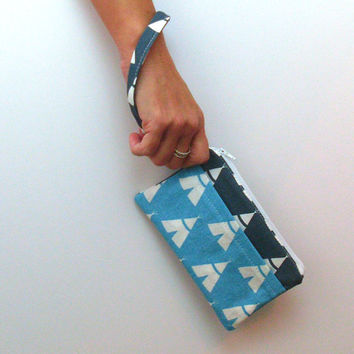 TeePee Wristlet, Cell Phone Wallet, Blue Clutch, Phone Pocket, Wristlet Strap