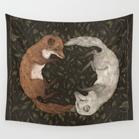 Foxes Wall Tapestry by Jessica Roux