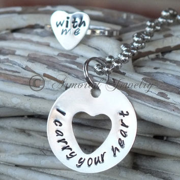 I carry your heart with me washer pendant and heart ring set