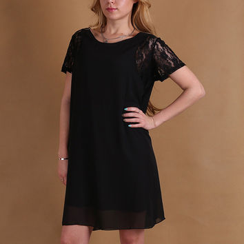 Short Sleeve Chiffon  A-Line Mini Dress with Lace Accent