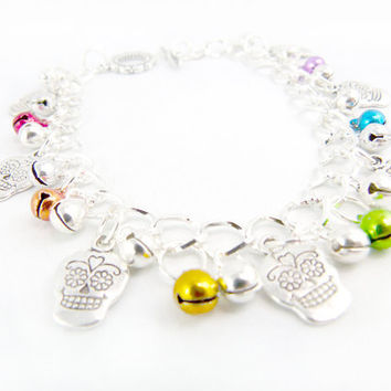 Day of the Dead Candy Skulls Rainbow Silver Jingle by angelyques