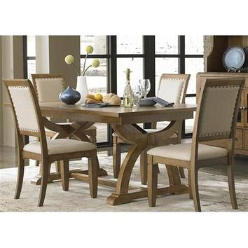 Liberty Furniture Town & Country 5 Piece Trestle Table Set in Distressed Sandstone w White