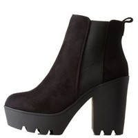 Black Lug Sole Platform Chelsea Booties by Charlotte Russe