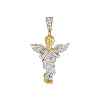 10kt Yellow Gold Mens Round Diamond Praying Angel Wings Charm Pendant 7/8 Cttw