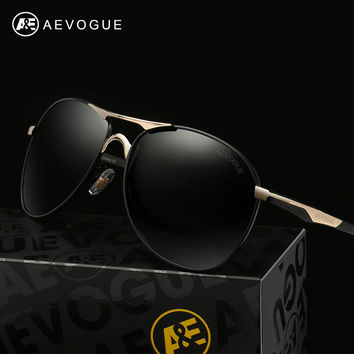 AEVOGUE Polarized Sunglasses Men Newest Copper Frame Classic Brand Designer Polaroid Lens Steampunk With Box UV400 AE0370