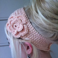 Crochet Flower Headband/ Earwarmer - Pick your color- peach