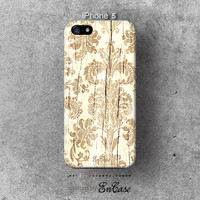 Antique white Floral Wood, 3D-sublimated, Mobile accesories,Unique iPhone 4, iPhone 4S, iPhone 5/5S case.