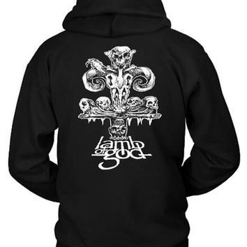 LMF1GW Lamb Of God Skull Black And White Hoodie Two Sided
