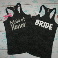 Bride. Bridesmaid. (2) Bridal Tank Top. Maid of Honor. Shirt. Bridal Party Wedding Gift Bachelorette. Customized Personalized Pink. Purple.