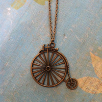 Old Fashion Bronze Bicycle Necklace