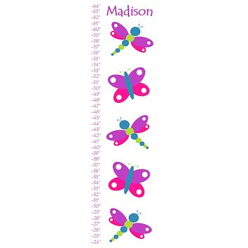 Personalized Butterfly and Dragonfly Growth Chart