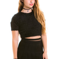 Everyday Magic Fuzzy Black Crop Top