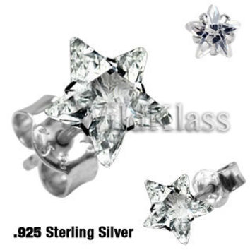 Pair of .925 Sterling Silver Stud Earring w/Clear Star Shaped CZ Tiny Stud Earrings Cartilage Earring Helix Jewelry Tragus Piercing