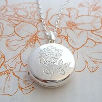Engraved Rose Locket