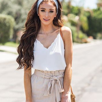 Maria Taupe Linen Shorts