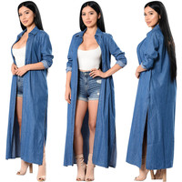 Trendy Denim Blue Slim Long Trench Coat  25159