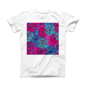 The Vibrant Colorful Floral Sprouts ink-Fuzed Front Spot Graphic Unisex Soft-Fitted Tee Shirt