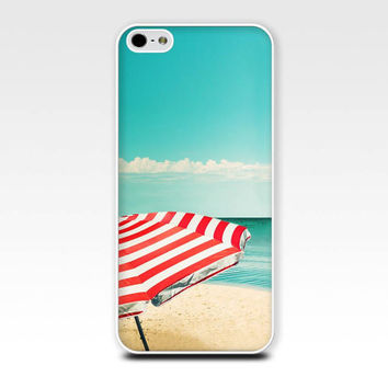 iphone case 4 4s 5 beach umbrella photography beach scene nautical case retro vintage ocean water teal red blue aqua cell phone cover