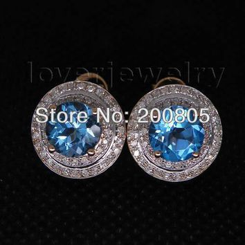 14KT Rose Gold Vintage Round 7mm Diamond Blue Topaz Earrings