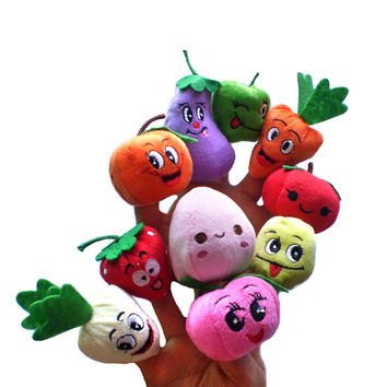 10pcs Finger Hand Puppets Plush Toys For Kids Fruits vegetables Finger Gloves puppets baby reborn dolls Education Toy Gift WOct1