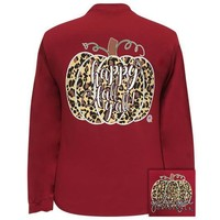 Girlie Girl Originals Preppy Happy Fall Y'all Leopard Pumpkin Long Sleeve T-Shirt