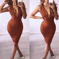 Toffee Bandage Wrap Plunge Dress