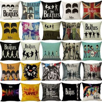 Vintage Classic The Beatles Band Cotton Linen Pillow Cases Throw Pillow Cushion Cover