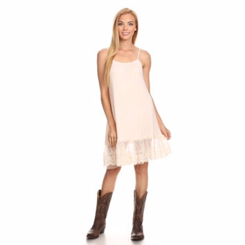Lace with Tulle Dress Extender Beige
