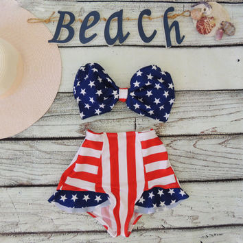 Vintage Bow Bikini Bandeau.DiVa Halter Neck.Miss USA Stars top Red white stripe Frill Panties 4th July Sexy &  Cute Pin up Lycra spandex