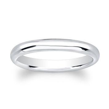 Ladies 14kt white gold plain comfort fit wedding band
