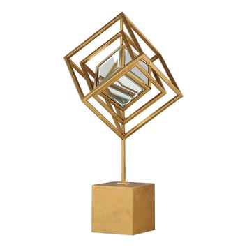 Venya Contemporary Geometric Antiqued Metallic Gold Sculpture by Uttermost