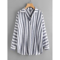 Buttoned Back Striped Plunge Blouse