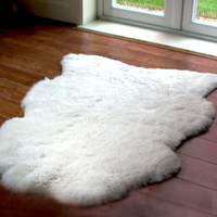 Bedside Sheepskin Rug/ Organic Fur Rug/ Decorative Carpet/ Throw Pelts/ Handmade Milky White Stylish Rug/ Three Snails/ Free Shipping!