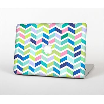 The Fun Colored Vector Segmented Chevron Pattern Skin Set for the Apple MacBook Air 11""