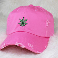 """420"" Distressed Baseball Cap Pink"