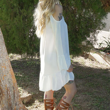 Ally Cold Shoulder Dress - White