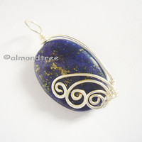 Sale Lapis dark blue wire wrapped pendant optional chain, stone, metaphysical, id1370062, simple handmade, gift for her, jewellery