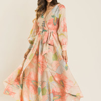 Elaine Taupe Floral Maxi Dress