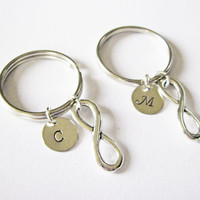 bff key chains, best friends gift ideas, bff best friend key chain, friendship infinity, gift for best friend, initial keychain, silver