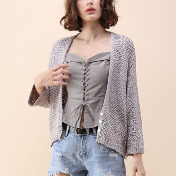 Daily Charm Knit Cardigan in Grey