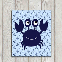 Crab wall art Crab decor Navy blue Beach bathroom wall art Whimsical crab print Sea art Nautical decor Kids bathroom decor INSTANT DOWNLOAD