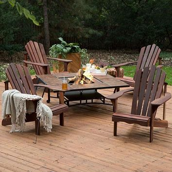 5 Piece Dark Amber Deluxe Adirondack Chair Natural Wood Burning Fire Pit Chat Set